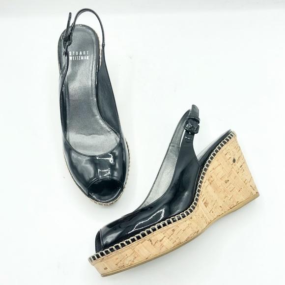Stuart Weitzman Black Pantent Leather Cork Wedges